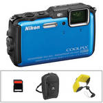 Nikon COOLPIX AW120 Waterproof Digital Camera Basic Kit (Blue)
