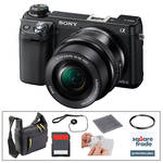 Sony Sony Alpha NEX- 6 Digital Camera and 16-50mm Lens Kit with Essential Accessories (Black)