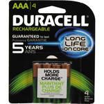 Duracell Rechargeable Long Life ion Core AAA NiMH Batteries (800mAh, 4-Pack)