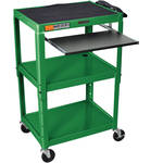 Luxor AVJ42KB Steel Adjustable A/V Cart with Pull-Out Keyboard Tray (Green)