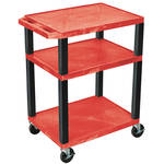 "Luxor 34"" A/V Cart with 3 Shelves and 3-Outlet Electrical Assembly (Red Shelves, Black Legs)"