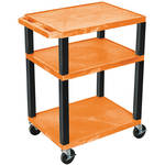 "Luxor 34"" A/V Cart with 3 Shelves and 3-Outlet Electrical Assembly (Orange Shelves, Black Legs)"