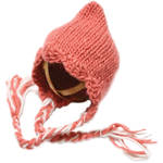 Custom Photo Props Scalloped-Edge Ear Flap Bonnet Hat (Coral and Ivory)