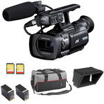 JVC GY-HM150U Compact Handheld 3-CCD Camcorder Starter Kit
