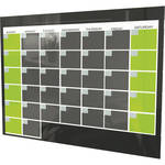 Balt Black Magnetic Glass Dry Erase Monthly Calendar (2 x 3')