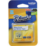 "Brother 0.47"" Blue on White ""M"" Labeling Tape (26.2', One Roll)"