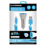 Xtreme Cables Dual Port Car Charger with 8-Pin Cable (Blue)