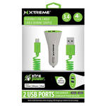 Xtreme Cables Dual Port Car Charger with 8-Pin Cable (Green)