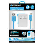 Xtreme Cables 2.4 Amp Home Charger with 8-pin Cable, 3' (Blue)