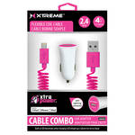 Xtreme Cables Car Charger with Lightning Cable (4', Pink)