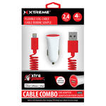 Xtreme Cables Car Charger with Lightning Cable (4', Red)