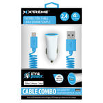 Xtreme Cables Car Charger with Lightning Cable (4', Blue)