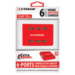 Xtreme Cables 6-Port USB Charger (Red)