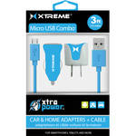 Xtreme Cables Micro USB Home and Car Charging Kit (Blue)