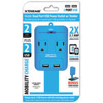 Xtreme Cables 2-Outlet Wall Tap with Dual USB Ports and Shelf (Blue)