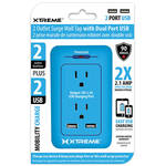 Xtreme Cables 2-Outlet Surge Wall Tap with Dual USB Ports (Blue)