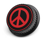 LenzBuddy Peace Sign Rear Lens Cap for Nikon Cameras (Black & Red)