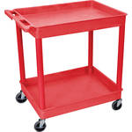 "Luxor TC11 32 x 24"" Two Shelf Heavy-duty Utility Cart (Red)"
