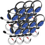 Califone 2800BLAV-12L Headset (Dual 3.5mm Plug, Blue, 12-Pack)