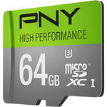 PNY Technologies 64GB High Performance UHS-I microSDXC Memory Card (U3, Class 10)
