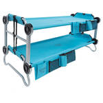 Disc-O-Bed Teal Blue Kid-O-Bunk with Organizers (Gray Frame)