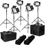 ikan Featherweight Flood Kit with 3x IFD576, 2x IFD1024, Gold/V-Mount Plates & Light Stands
