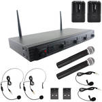 Pyle Pro PDWM4540 Wireless UHF Quad Channel System with Two Sets of Headset, Bodypack, Handheld and Lavalier Microphone (1 RU)