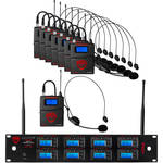 Nady 8W-1KU UHF Wireless Receiver System for Eight Simultaneous Transmitters with HM-3 Head-Worn Microphone
