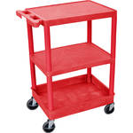 "Luxor STC221 24 x 18"" Three Shelf Heavy-duty Utility Cart (Red)"