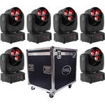 OMEZ Six TitanWash Matrix1 Moving Head LED Wash Fixtures with Road Case