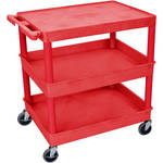 "Luxor TC211 32 x 24"" Three Shelf Heavy-duty Utility Cart (Red)"
