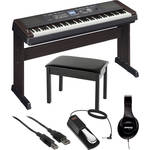 Yamaha DGX-650 Portable Grand Digital Piano Essentials Bundle (Black)