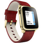 Pebble Time Steel Smartwatch (38mm, Gold, Leather Band)