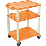 "Luxor 34"" Tuffy Open Shelf A/V Cart with 3 Shelves and 3-Outlet Electrical Assembly (Orange Shelves, Putty Legs)"