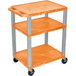 "Luxor 34"" A/V Cart with 3 Shelves, 3-Outlet Electrical Assembly (Orange Shelves, Nickel-Colored Legs)"