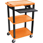"Luxor 42"" A/V Cart with 3 Shelves, Pull-Out Keyboard Tray and Electric Assembly (Orange Shelves, Black Legs)"