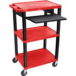 "Luxor 42"" A/V Cart with 3 Shelves, Pull-Out Keyboard Tray and Electric Assembly (Red Shelves, Black Legs)"