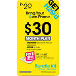H2O WIRELESS $30 Monthly Unlimited Plan and 3-in-1 SIM Card Starter Kit