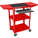 Luxor Adjustable Height Steel A/V Cart with Keyboard Shelf and Drop Leaf Shelves (Red)