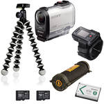 Sony FDR-X1000V 4K Action Cam Camping Kit with Live View Remote
