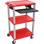 "Luxor 42"" A/V Cart with 3 Shelves, Pull-Out Keyboard Tray, (Red Shelves, Nickel Legs)"