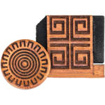 Artisan Obscura Soft Shutter Release & Hot Shoe Cover Set with Etched Aztec Sun Design (Small Concave, Sticky-Backed, Chakte Viga Wood)