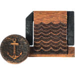Artisan Obscura Soft Shutter Release & Hot Shoe Cover Set with Etched Anchors & Waves Design (Small Concave, Sticky-Backed, Chakte Viga Wood)