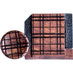 Artisan Obscura Soft Shutter Release & Hot Shoe Cover Set with Etched Plaid Design (Large Concave, Threaded, Bloodwood)