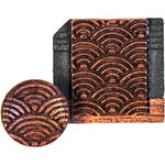Artisan Obscura Soft Shutter Release & Hot Shoe Cover Set with Etched Empty Rainbows Design (Large Concave, Threaded, Bloodwood)