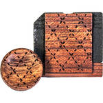 Artisan Obscura Soft Shutter Release & Hot Shoe Cover Set with Etched Argyle Design (Small Convex, Threaded, Bloodwood)