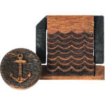 Artisan Obscura Soft Shutter Release & Hot Shoe Cover Set with Etched Anchors & Waves Design (Small Convex, Threaded, Chakte Viga Wood)