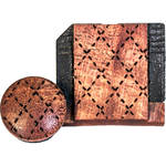 Artisan Obscura Soft Shutter Release & Hot Shoe Cover Set with Etched Argyle Design (Large Convex, Threaded, Ivorywood)