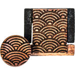 Artisan Obscura Soft Shutter Release & Hot Shoe Cover Set with Etched Empty Rainbows Design (Large Concave, Threaded, Ivorywood)