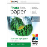 "ColorWay Dual-Side High Glossy Photo Paper (8.5 x 11"", 20 Sheets)"